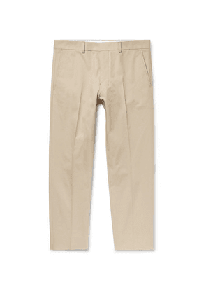 AMI - Cropped Slim-fit Cotton-twill Trousers - Beige