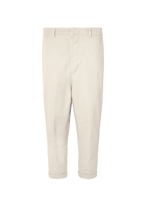AMI - Cropped Tapered Cotton-twill Trousers - Beige