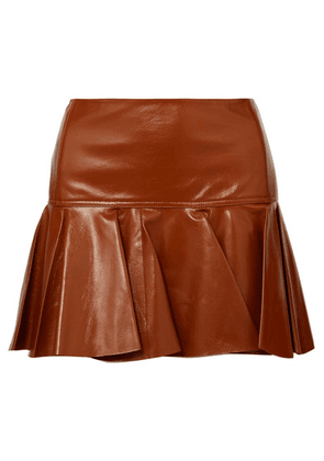 Chloé - Pleated Glossed-leather Mini Skirt - Brown