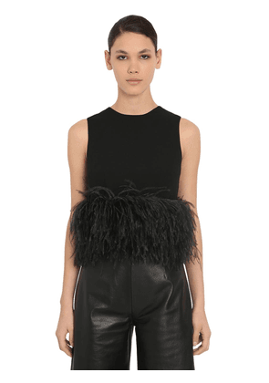 Stretch Crepe Crop Top W/ Feathers
