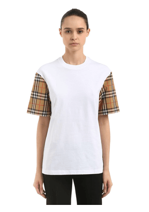 Cotton T-shirt W/ Check Sleeves
