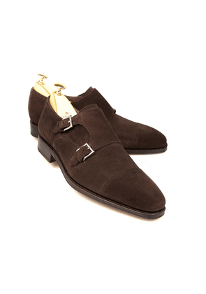 Brown Suede Double Monk Straps