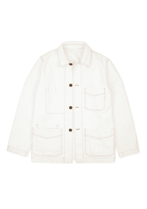 White Cotton Canvas Chore Jacket
