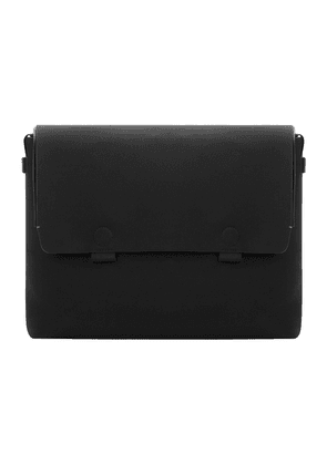 Black Waterproof Canvas and Leather Strider Messenger