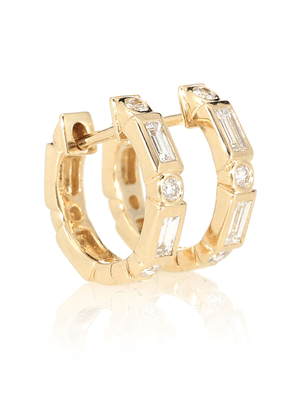 14kt gold and diamond hoop earrings