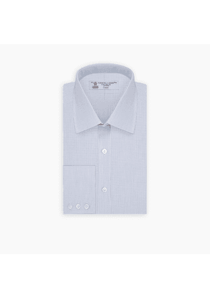Navy and Light Blue Fine Check Shirt with T & A Collar and 3-Button.