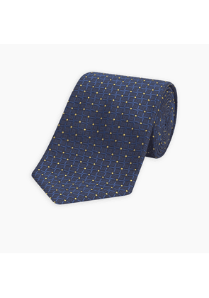 Cross Spot Check Navy and Yellow Silk Tie