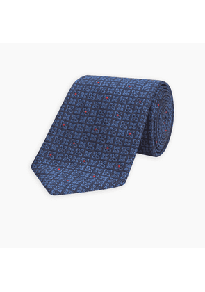 Mini Floral Check Tonal Blue and Red Silk Tie