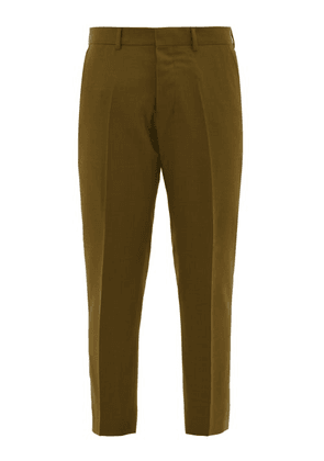 Ami - Cropped Virgin Wool Twill Trousers - Mens - Green
