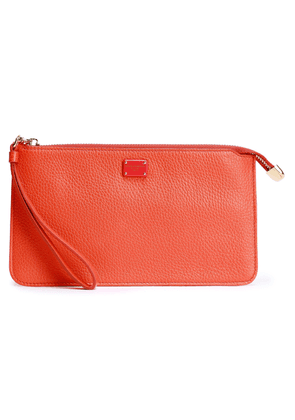 Dolce & Gabbana Pebbled-leather Clutch Woman Orange Size --