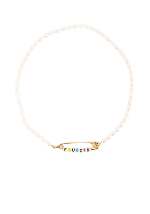 ERTH Pearl Fuck Pin Necklace in White.