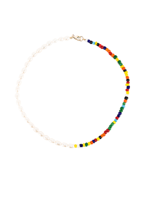 ERTH Double Crescent Necklace in White.