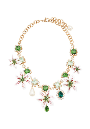 Dolce & Gabbana Flower embellished necklace - Green