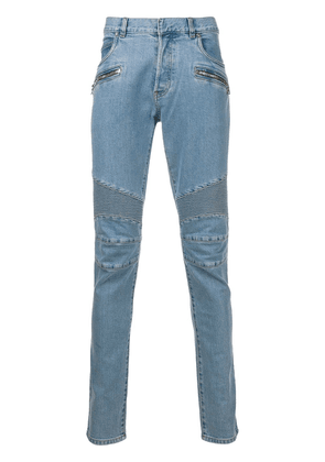Balmain quilted detailed skinny jeans - Blue