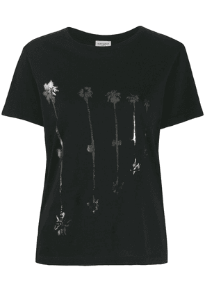 Saint Laurent palm tree print T-shirt - Black