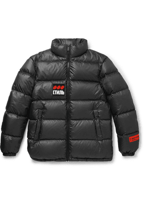 Heron Preston - Logo-appliquéd Quilted Shell Down Jacket - Dark gray