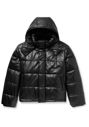 McQ Alexander McQueen - Quilted Leather Hooded Jacket - Black