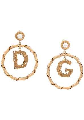 Dolce & Gabbana faux pearl embellished pendant earrings - Gold