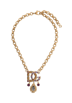 Dolce & Gabbana embellished logo necklace - Gold