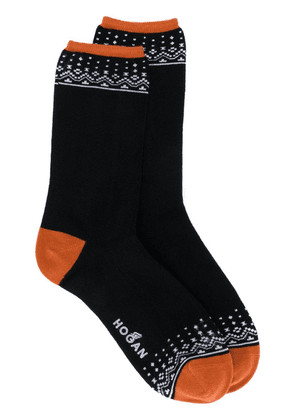 Hogan logo embroidered socks - Black