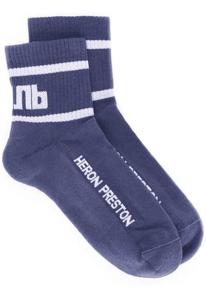 Heron Preston logo ankle-socks - Blue