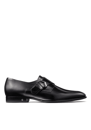 SALLE Black Brush Off Shiny Calf Leather Monk Strap Shoes