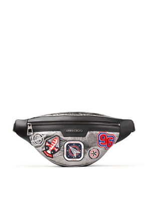 DERRY Anthracite Metallic Fabric Shoulder Bag with Badges