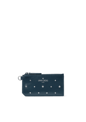 INGO Indigo Leather Card Holder with Silver Flat Star Stud Design