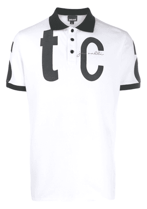 Just Cavalli logo print polo shirt - White