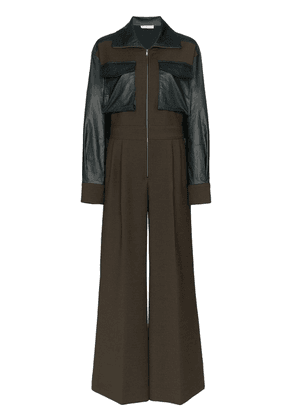 Rejina Pyo Tate faux leather-trimmed jumpsuit - Green