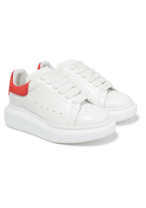 Alexander McQueen Kids - Suede-trimmed Leather Exaggerated-sole Sneakers - Red