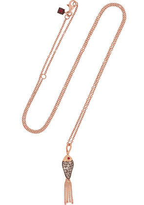 Selim Mouzannar - Fishing For Love 18-karat Rose Gold, Enamel, Diamond And Ruby Necklace - one size