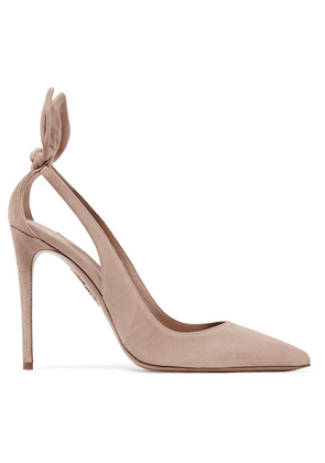Aquazzura - Deneuve 105 Bow-embellished Suede Pumps - Blush