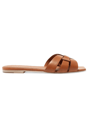 SAINT LAURENT - Nu Pieds Woven Leather Slides - Tan