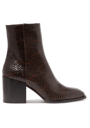 aeyde - Leandra Python-effect Leather Ankle Boots - Chocolate