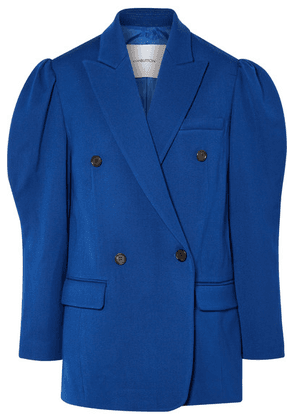 Pushbutton - Double-breasted Wool-crepe Blazer - Blue