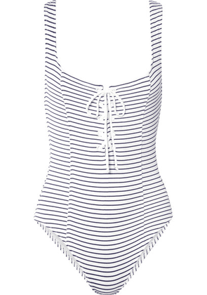 Solid & Striped - The Sophia Lace-up Striped Ribbed Swimsuit - Blue