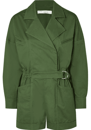 IRO - Belo Belted Cotton-blend Twill Playsuit - Army green