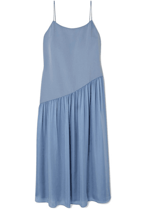 Theory - Pleated Crepe And Georgette Midi Dress - Blue