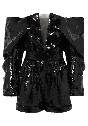 Balmain - Off-the-shoulder Sequined Tulle Playsuit - Black