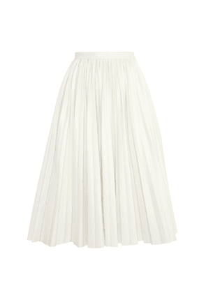 Anouki Pleated Crystal-Embellished Leather-Effect Midi Skirt