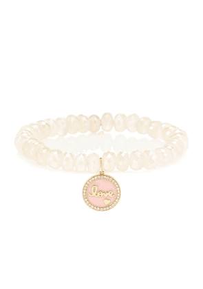 Love Tableau beaded bracelet with 14kt yellow gold and diamond charm