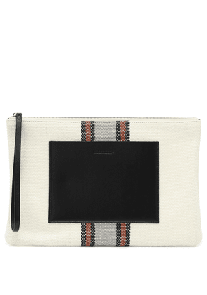 Exclusive to Mytheresa – leather-trimmed canvas clutch