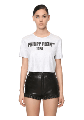 23 Crystal Cropped Cotton Jersey T-shirt