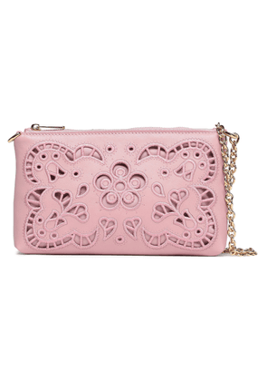 Dolce & Gabbana Embroidered Laser-cut Leather Clutch Woman Bubblegum Size --