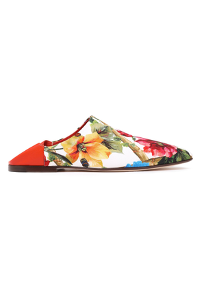 Dolce & Gabbana Leather-trimmed Floral-print Crepe Slippers Woman White Size 36