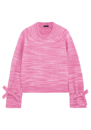 J.crew Bow-detailed Marled Knitted Sweater Woman Pink Size XXS
