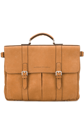 Brunello Cucinelli double buckled briefcase - Brown
