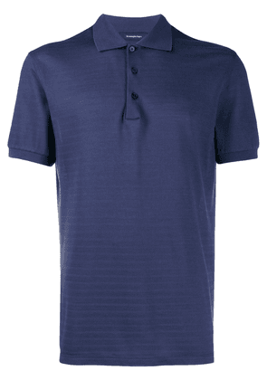 Ermenegildo Zegna striped texture polo shirt - Blue