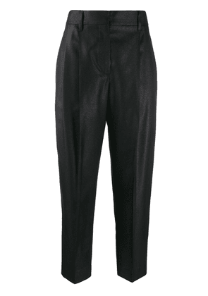 Brunello Cucinelli cropped high-rise trousers - Black